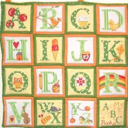 ABC yellow quilted alphabet wall hanging/ playmat